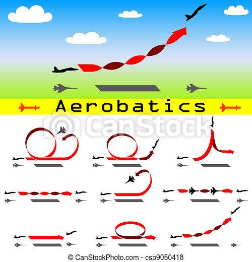 Aerobatics airplane on blue sky background - csp9050418