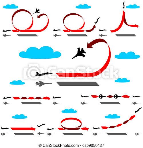 Aerobatics airplane on blue sky background - csp9050427