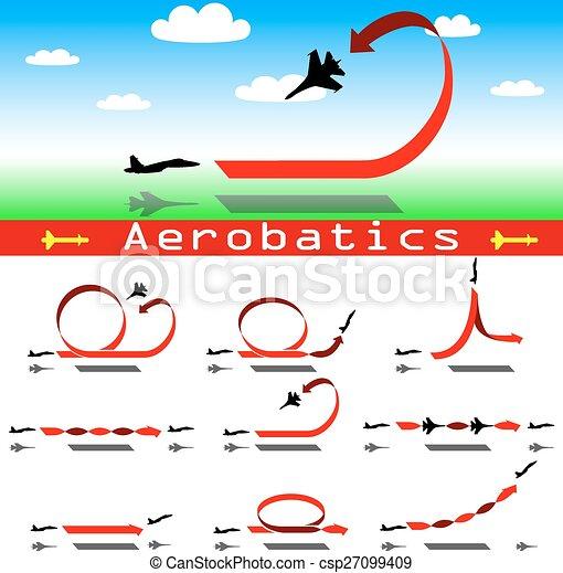 Aerobatics airplane on blue sky background.  - csp27099409