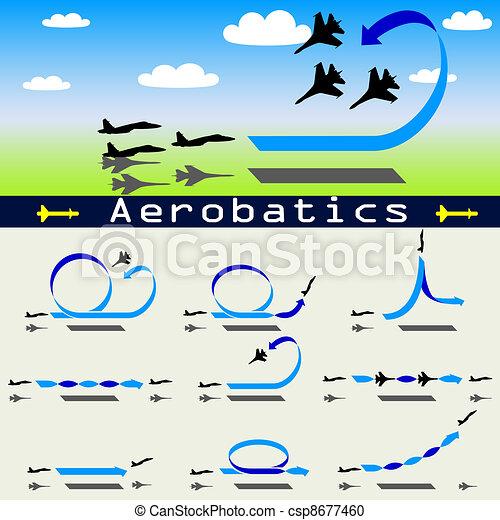 Aerobatics airplane on blue sky background - csp8677460