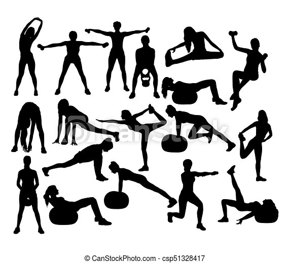 Aerobic Gym And Fitness Sport Silhouettes Art Vector Design