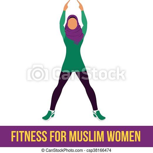 aerobico, colorare, musulmano, icons., pieno - csp38166474