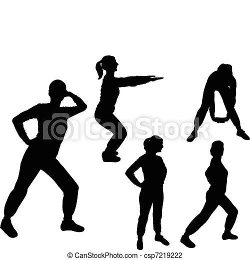 aerobics girl - vector - csp7219222