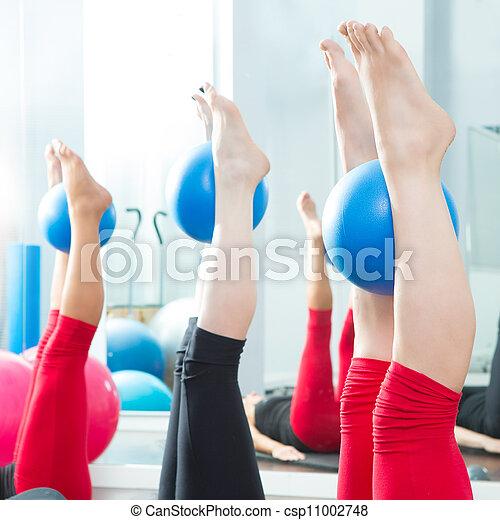 Aerobics pilates women feet  with yoga balls - csp11002748