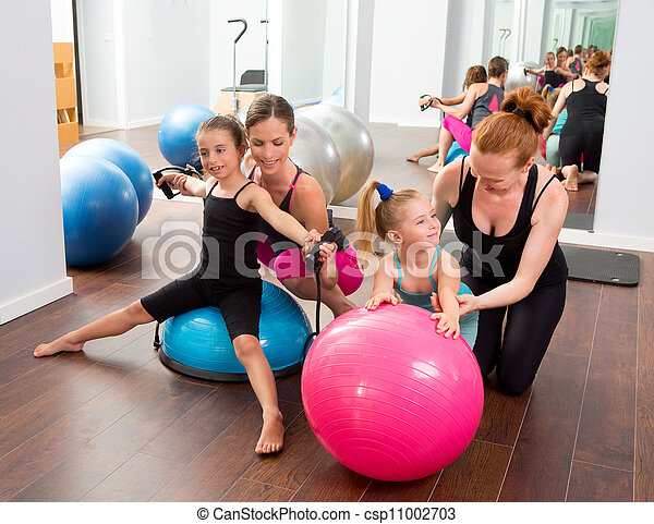 aerobics pilates women kid girls personal trainer instructors at gym