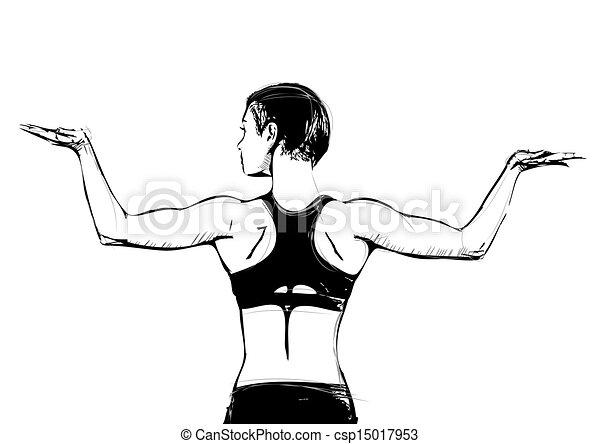 aerobics pose illustration - csp15017953
