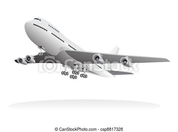 aeronave passageiro, partindo, chão - csp8817328