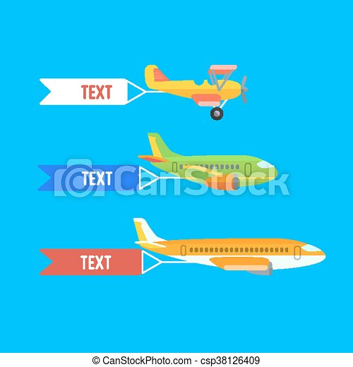 Aeroplane, planes and biplane. Set of colorful flat airplanes. - csp38126409