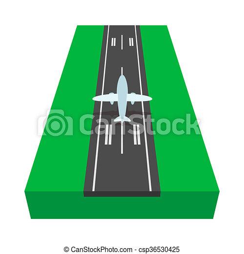 Aeroplano cartone animato pista atterraggio icona. pista