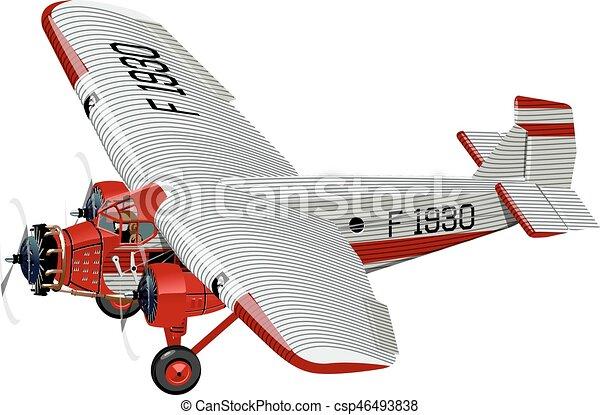 Aeroplano cartone animato retro. disponibile separato gruppi