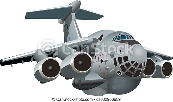 Aeroplano militare cartone animato. disponibile carico gruppi