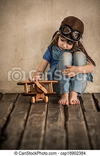 aeroplano, triste, gioco, bambino - csp18902384