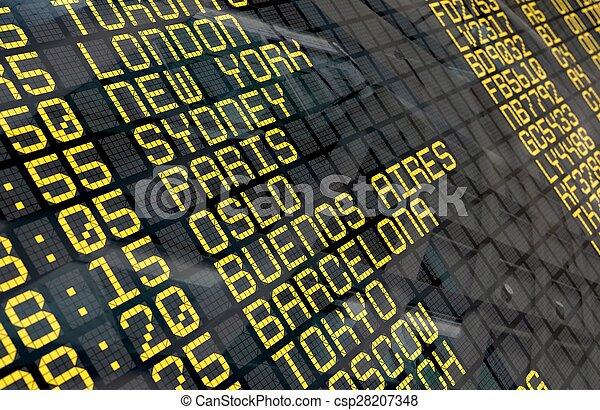 Junta de salida del aeropuerto internacional - csp28207348