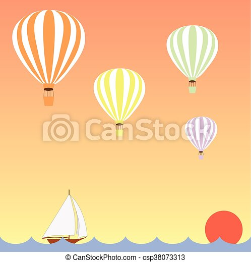 aerostats, zeilend, op, vliegen, hemel, dons, zee, ondergaande zon , scheepje - csp38073313
