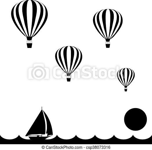 aerostats, zeilend, op, vliegen, hemel, dons, zee, ondergaande zon , scheepje - csp38073316
