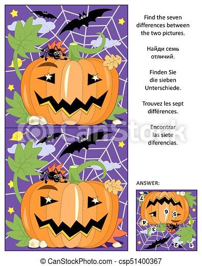 Raadsels Halloween.Afbeelding Halloween Raadsel Verschillen Pompoen Spin Knuppels Vinden