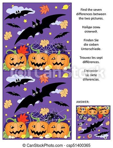 Raadsels Halloween.Afbeelding Verschillen Raadsel Vliegen Halloween Spin Akker Knuppels Vinden Pompoen