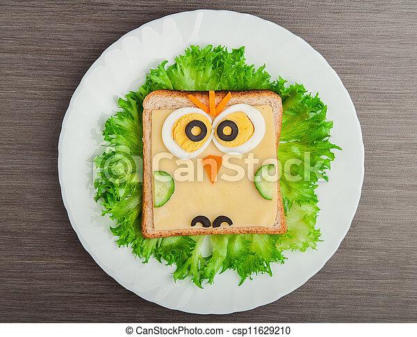 afbeelding, weinig; niet zo(veel), broodje, uil, creatief, ontwerp, kind, voedsel. - csp11629210