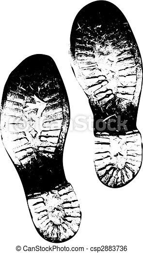 afdrukken, oud, versie, laarzen, vector, vieze , voet - csp2883736