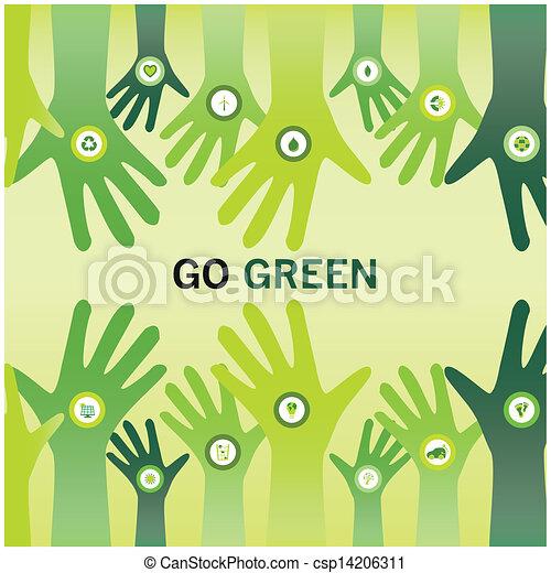 affär, eco, vänskapsmatch, glädjande, grön, räcker, gå, värld, sustainable, eller - csp14206311