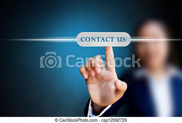 affär, knapp trycka, oss, hand, toucha, kontakta, gräns flat, avskärma, kvinnor - csp12092729