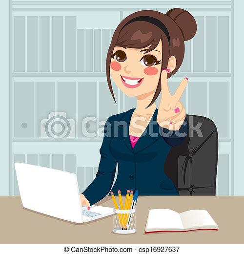 affärskvinna, arbeta ämbete - csp16927637