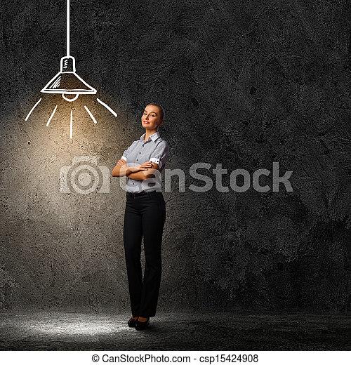 affärskvinna, attraktiv - csp15424908