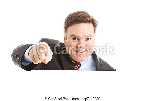 affärsman, över, pekande, copyspace - csp7113239