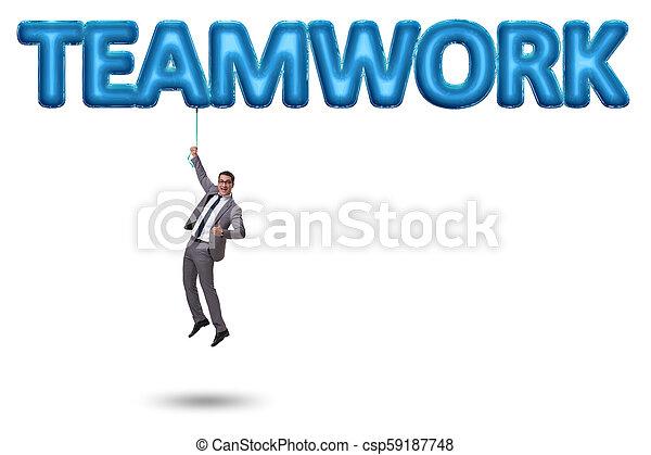 affärsman, begrepp, teamwork, flygning - csp59187748