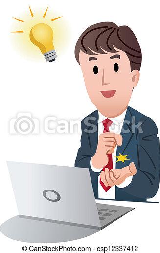 affärsman, bra, idé, fik - csp12337412