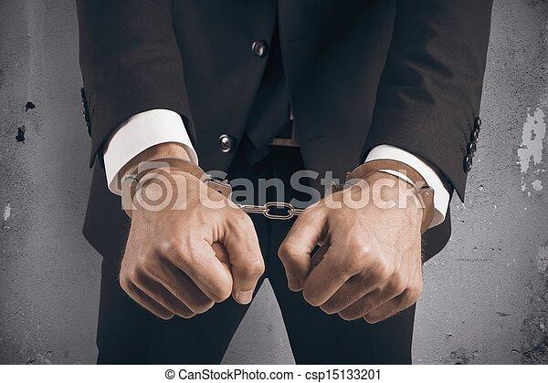 affärsman, handcuffed - csp15133201