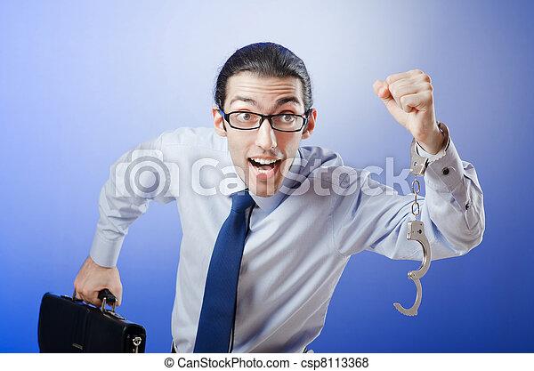affärsman, handcuffed, hans, brott - csp8113368