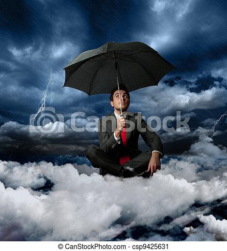 affärsman, oväder - csp9425631