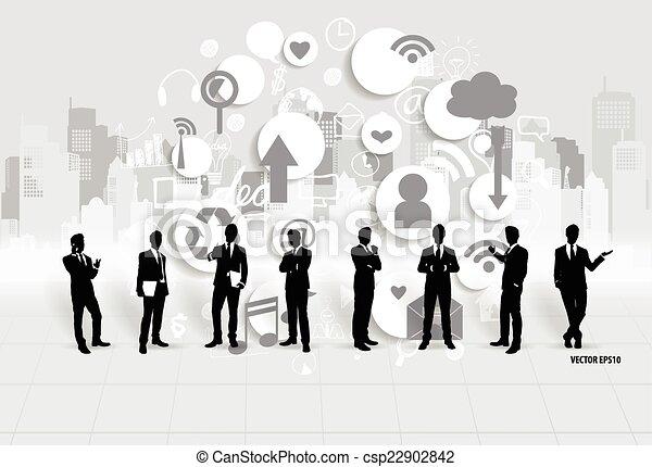 affärsman, vektor, application., illustration., moln - csp22902842
