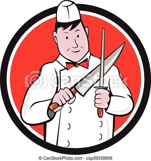 Dessin Boucher affûtage, cercle, couteau boucher, dessin animé. ensemble, intérieur
