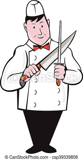 Dessin Boucher affûtage, couteau boucher, dessin animé. debout, ensemble, ouvrier