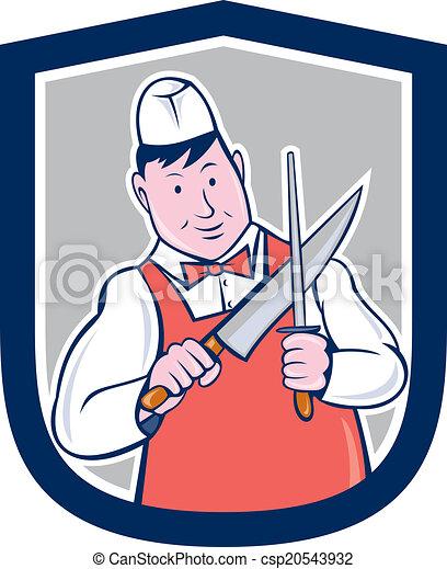 Dessin Boucher affûtage, couteau boucher, dessin animé. ensemble, bouclier, fond