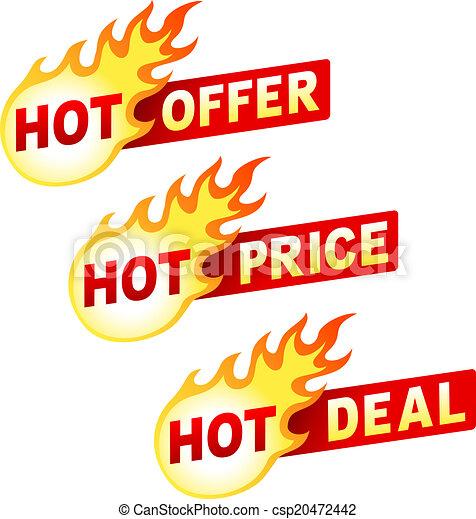 affaire, autocollant, offre, chaud, flamme, coût, insignes - csp20472442