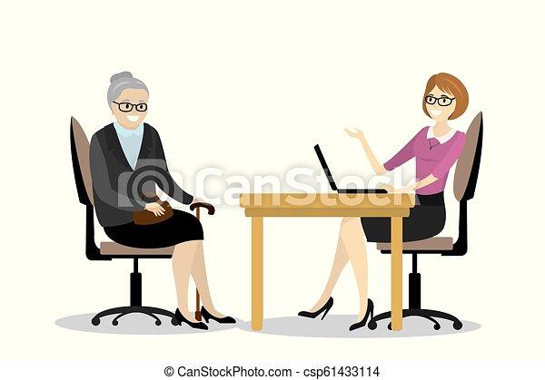 Affaires Femme Bureau Grand Mère Conversation Dessin Animé