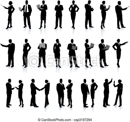 affaires gens, ensemble, super, silhouette - csp3197294