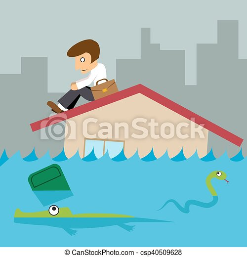Affaires Ville Toit Inondation Maison Homme Affaires