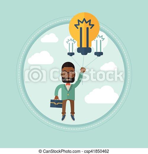 affari, brillante, giovane, idea., uomo affari, detenere - csp41850462