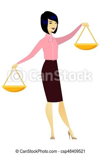 affari donna, asiatico, presa a terra, scale., equilibrio - csp48409521