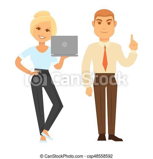 affari donna, laptop, idea, possedere, esposizione, gesto, uomo - csp48558592