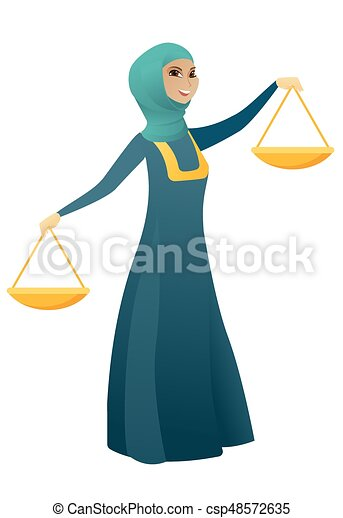 affari donna, musulmano, presa a terra, scale., equilibrio - csp48572635