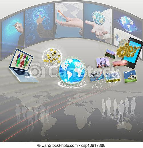 affari donna, processo, idea, mano, asse, disegno - csp10917388