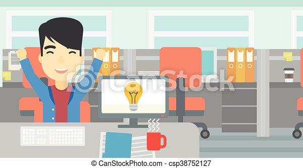 affari, eccitato, idea., creativo, detenere, uomo - csp38752127