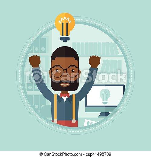 affari, eccitato, idea., creativo, detenere, uomo - csp41498709