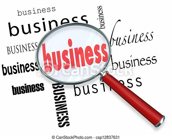affari, ingrandendo, parola, inizio nuovo, basi, imparare, ditta, vetro - csp12837631