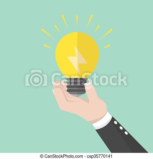 affari, lampada, idea, presa a terra, uomo - csp35770141